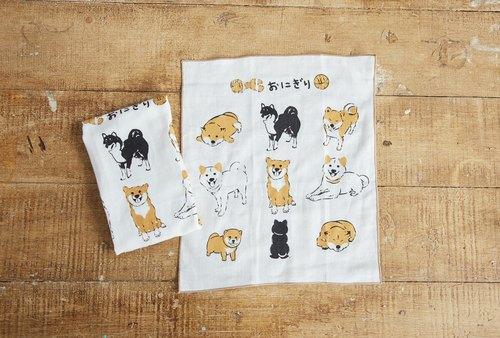 小飯糰  柴柴團圓飯 手工絹印手拭巾