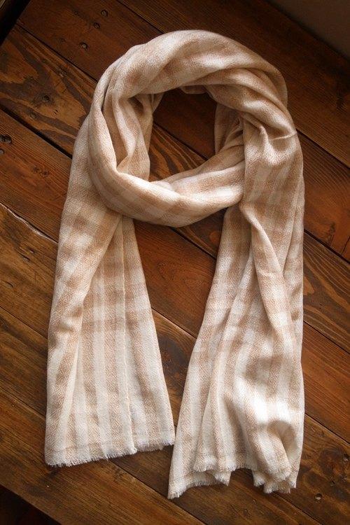 【樂拍子】喀什米爾羊毛圍巾/披肩Hand made in Nepal(淺褐格紋)