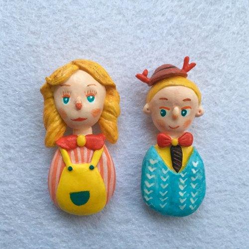 人偶娃娃可爱超轻粘土纸黏土陶土胸针别针饰品couple