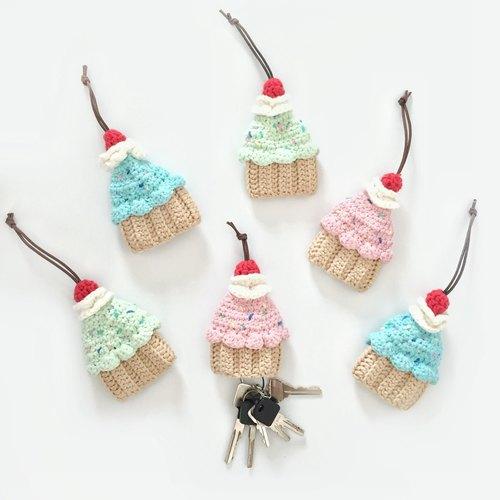 钩针编织 被子蛋糕 cupcake 钥匙包