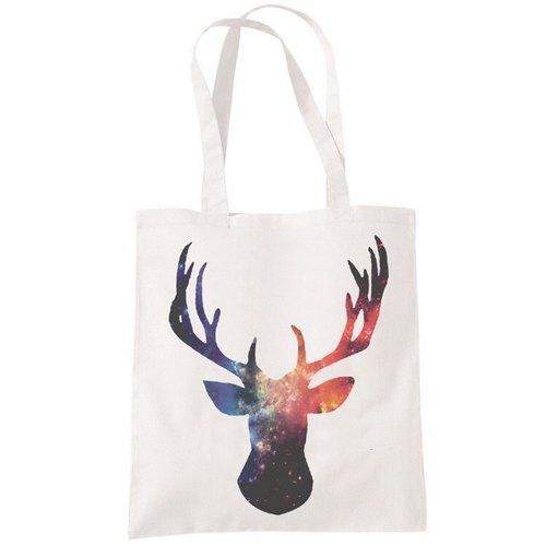 cosmic stag 鹿动物文青帆布袋文艺环保购物袋单肩手提包袋-米白色
