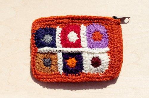 手工羊毛线钩针编织长方形零钱包