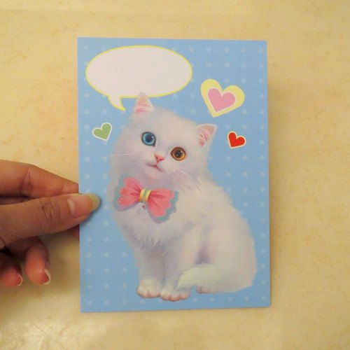 可爱写实唯美疗愈系猫咪插画泡泡明信片~白猫 - cat