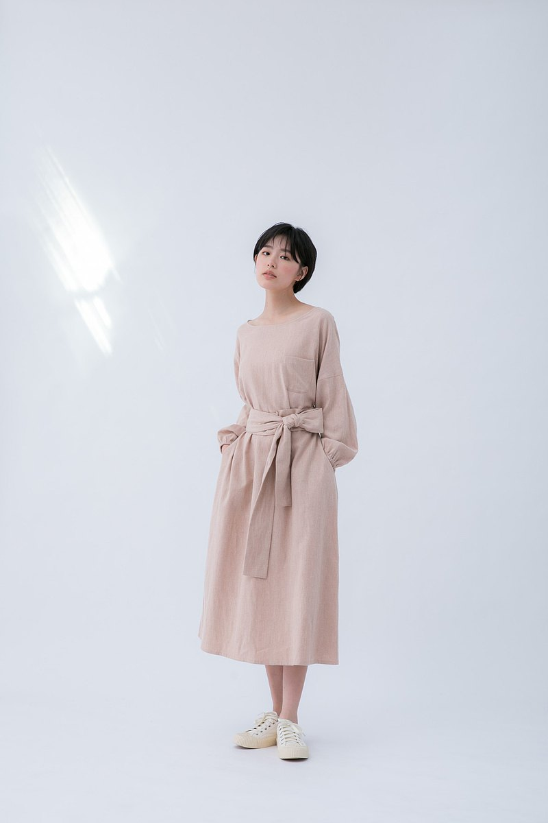 Bedside story cotton and linen tie long sleeve dress