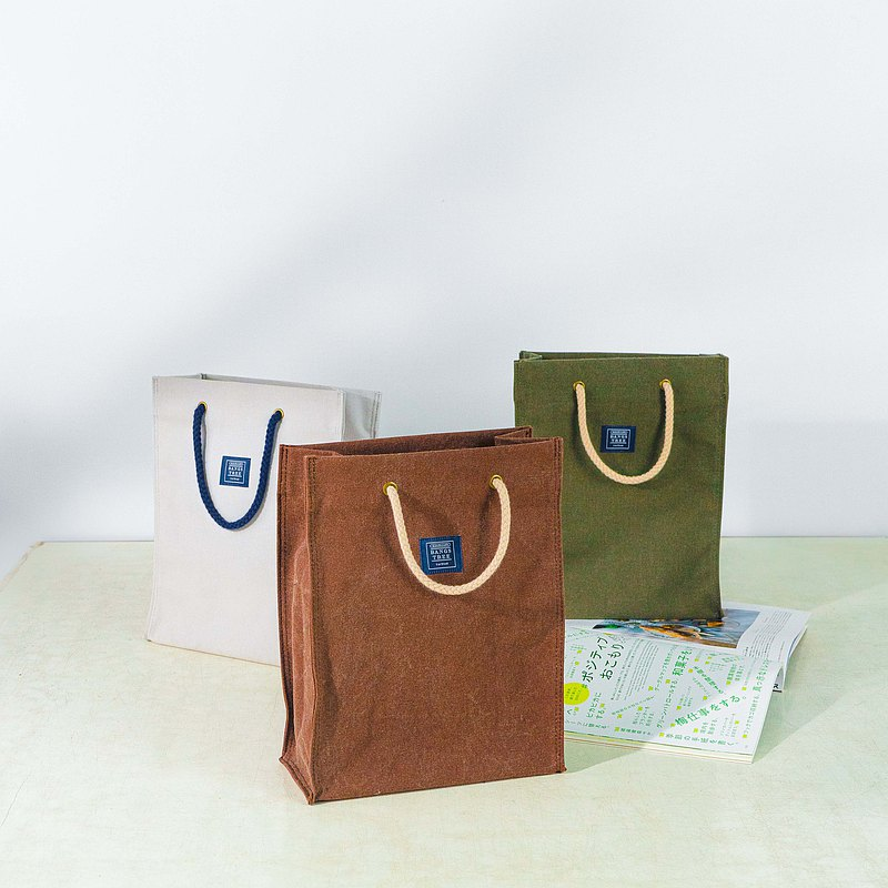 Spot canvas bags like paper bags _ washed pattern coffee/washed pattern dark green (S)