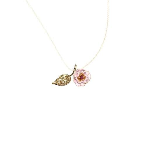 chiching棋青设计手工珠宝饰品 珐琅系列 藕紫色花开富贵牡丹项鍊