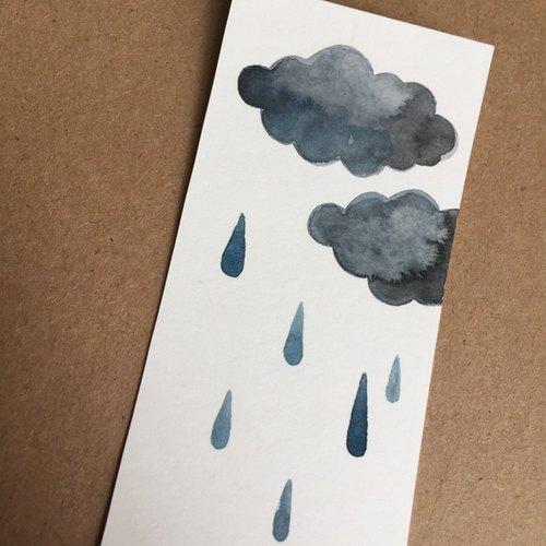 可爱简约云雨手绘水彩书签(原画)非印刷品礼物