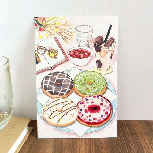 《水彩手绘插画》明信片-《美食》冬甩 甜甜圈 - 奥奥