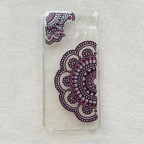 手绘透明手机壳 手机套 紫色 玫红 iphone 7 6s samsung galaxy sony