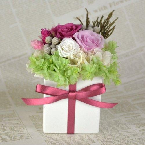 玫瑰恆星花禮-桃粉 不凋花 永生花 情人節 擺飾 盆栽 居家佈置 溫馨 浪漫