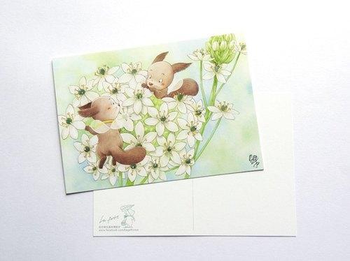貝果插畫明信片「伯利恆之星-小松鼠花精靈」