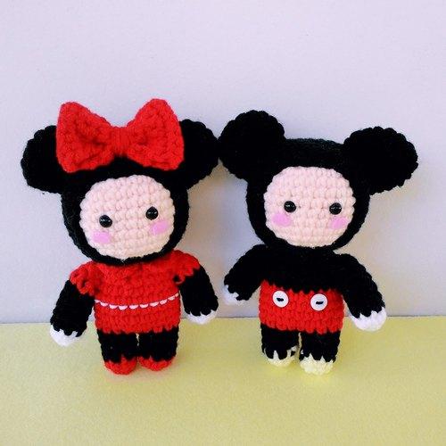 米老鼠玩偶装毛线娃娃钥匙圈 吊饰 - 【花兔手作】