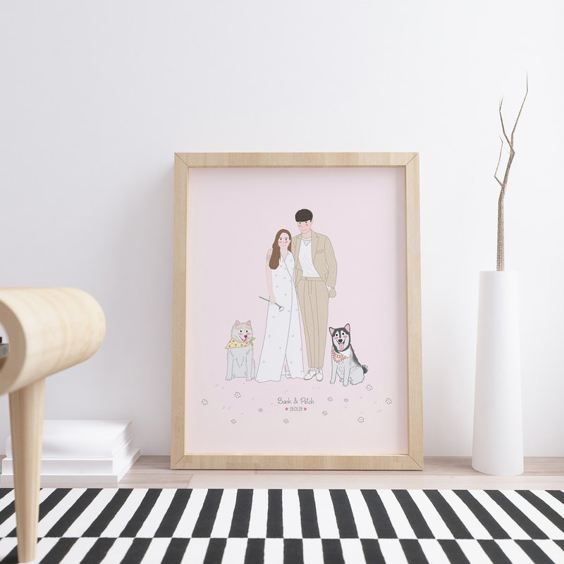 Custom illustraton of couple with pets.
