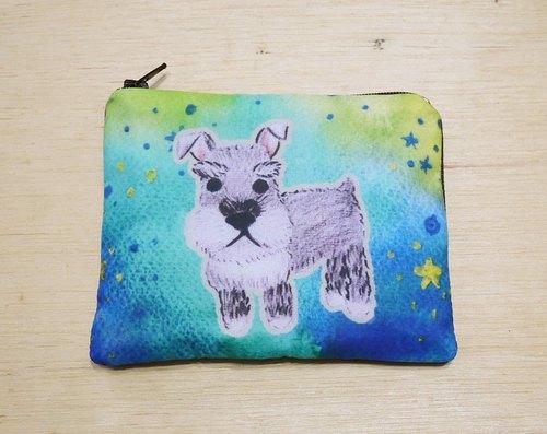手绘渲染水彩风格图案 雪纳瑞 钥匙包 零钱包 卡片包