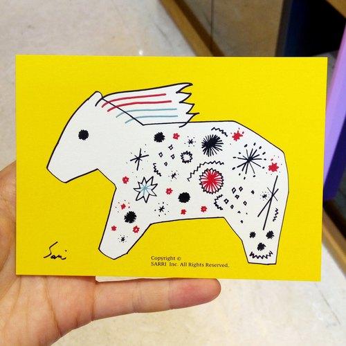「马到成功」(可制作a3大小的海报) 生日卡 设计 著色 插画 绘本 卡片
