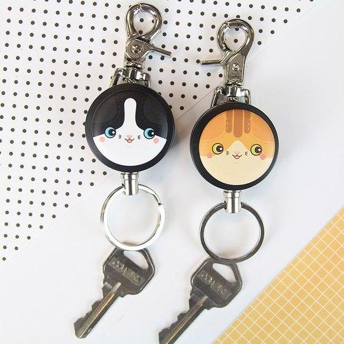 i好溜鑰匙扣環系列-滿滿系列-橘喵&黑白喵(兩款) 貓 貓咪 鑰匙圈 伸縮拉環 伸縮鋼線
