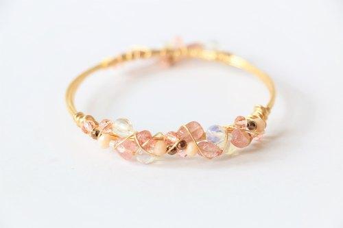 草莓晶金属线手环手镯 天然石手工铜线绕线手镯 美国18k金电镀铜线