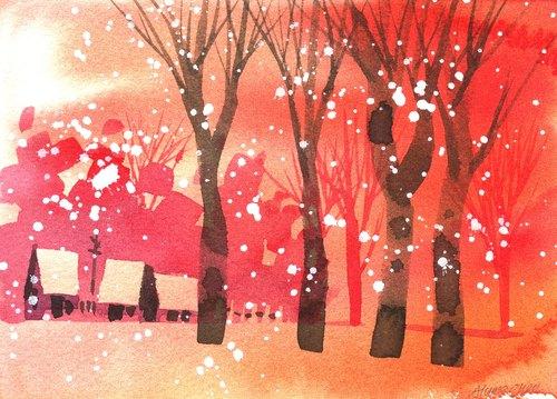 「疗愈系树林系列r-3」水彩手绘限量版明信片/圣诞卡