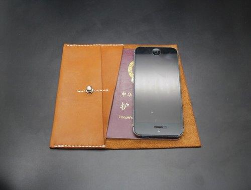 手工牛皮縫制護照錢夾護照包iPhone5 5s 5se手機套真皮夾 進口樹膏皮