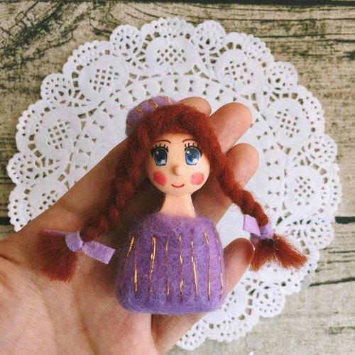 summerlol手工手作羊毛毡黏土粘土胸针创意礼物可爱人偶娃娃紫色 voil