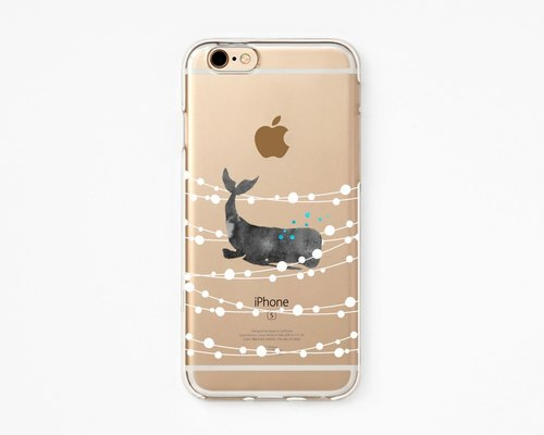 iPhone Rubber Case - Whale Dream - iPhone 6s case, iPhone 6 case, iPhone 6+ case - Clear Flexible Rubber TPU case J22