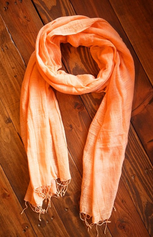 【Grooving the beats】[ Fair Trade] Organic Cotton, Hand woven, Natual Dye Shawl / Scarf(Orange)