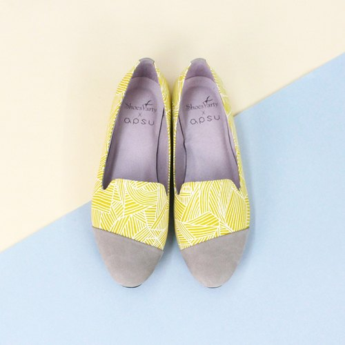 -----------Shoes Party----------- crop circles eat yellow oblique stitching Oubei La Yaya / handmade custom / Japan fabric