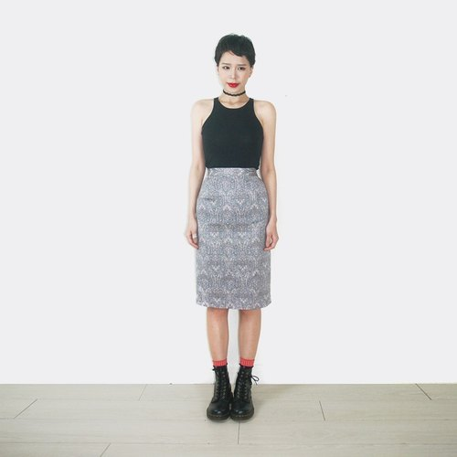 Blue and purple retro pattern vintage high waist Skirt AM2012