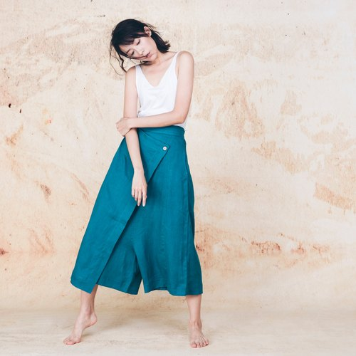 Hand cotton and linen low-grade pants skirt - lake green