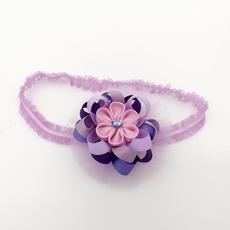 Roland purple ribbon and wind yarn flower ball. Snow yarn hair band dual models