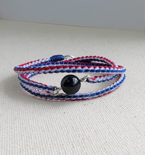 Sterling Silver*Fashion lucky pray silk wax black and blue hair crystal bracelet*** Eighth compilation of three laps