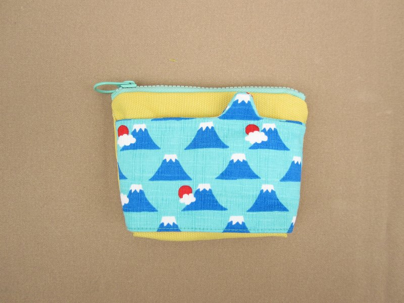 *1 + 1 = 5 / modeling pocket purse / Mount Fuji blue and green*