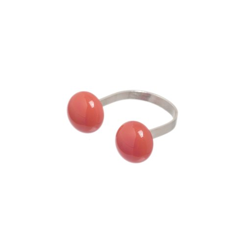 Open glass ring in salmon pink colour