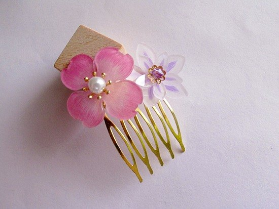 Apu hand-made hand-colored double flower hair comb