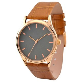 Rose gold watch (titanium-colored dial with rose gold bullion nail) light brown belt