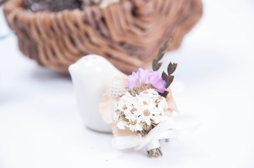 Her Bouquet loved the world | dried flower ring small silver stars pink white plum fruit French hydrangea Mountain Mao Jian