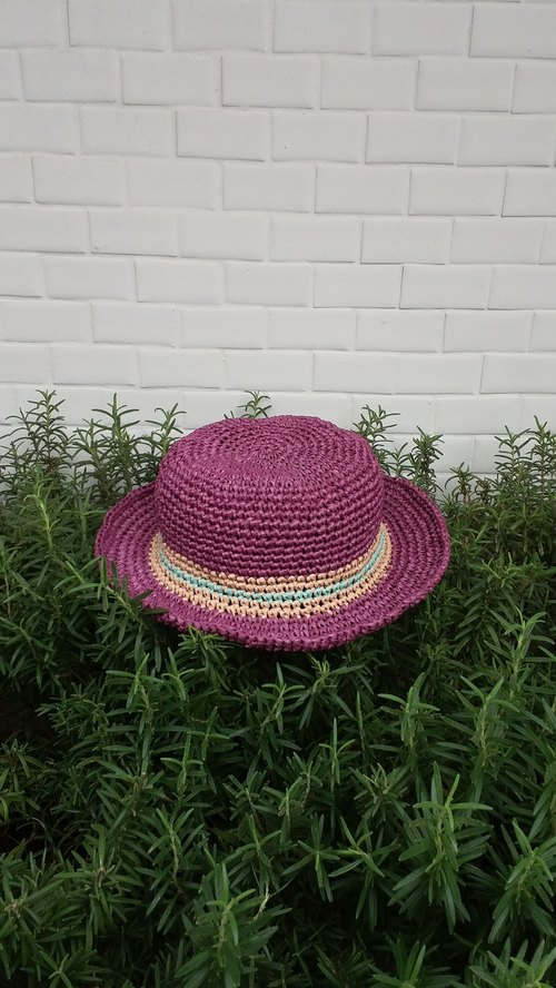 Child straw hat - purple