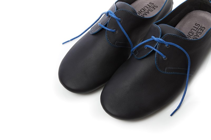 We love Derby-Leather Casual Women Shoes-Blue and Black