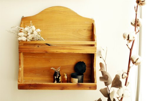 [Good day] Miscellaneous fetish double wooden wall rack / shelving