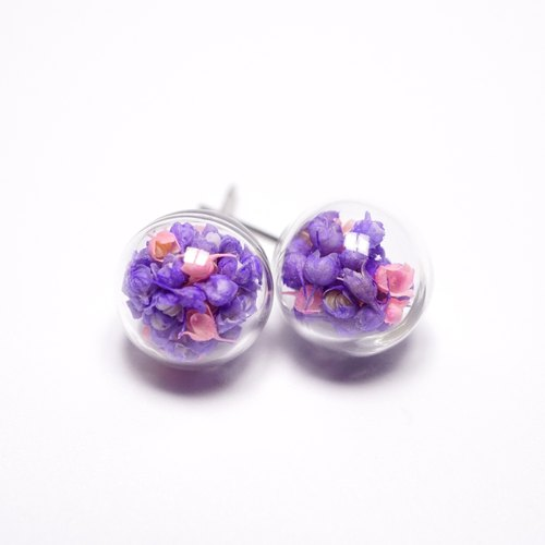 A Handmade pink purple deployment Xia grass glass ball earrings