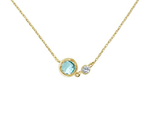 Edith & Jaz • Series flash diamond birthstone - Aquamarine necklace (March)