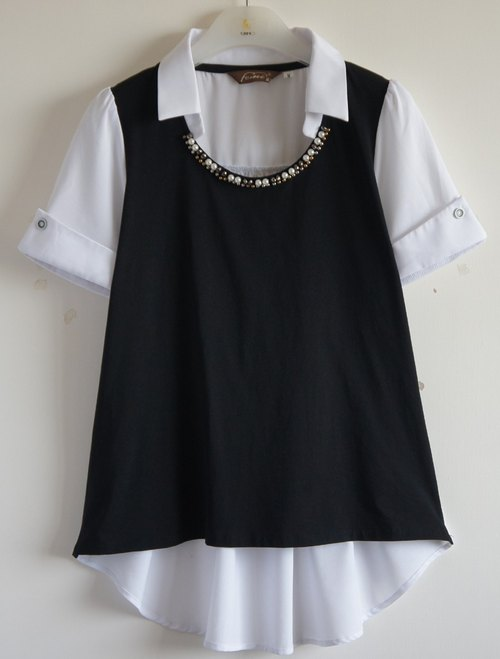 [KIINO] popular single product in gorgeous long black Blouse -3851-1060
