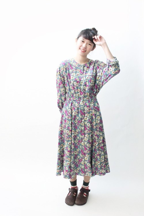[] Early spring RE0224D616 full version of Flower Blue loose vintage dress
