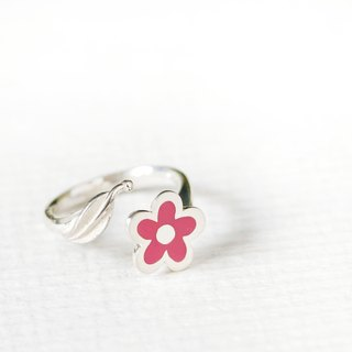 Pink flower handwriting style pink flower ring silver925