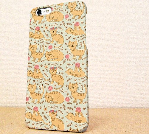 Seamless pattern phone case free shipping ☆ iPhone case GALAXY case ☆ cat (cat)