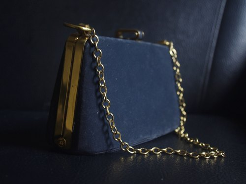 4.5studio- Nordic ancient antique bag - 1920s blue velvet gold chain Clutch