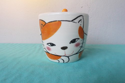 Pinch manufacturing handmade mug cat tail orange cat ----