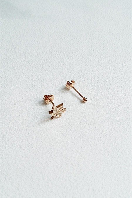 Maple Leaf Earrings 925 Sterling Silver Rose Gold [SZE1615]