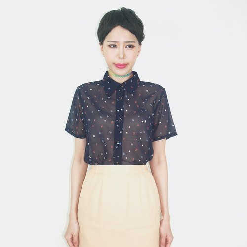 Dark blue color vintage little chiffon short-sleeved shirt AO4008