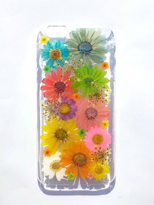 Handmade phone case, Pressed flowers phone case, iphone 6 plus phone case, Colorful